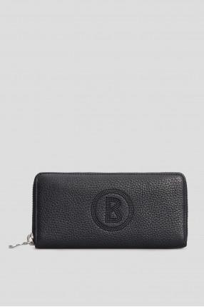 Темно-синій шкіряний гаманець