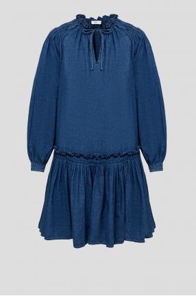 Женское темно-синее платье