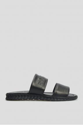 Мужские черные кожаные слайдеры