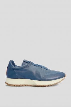 Чоловічі сині шкіряні кросівки