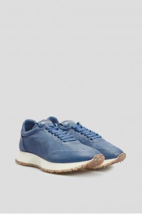 Чоловічі сині шкіряні кросівки 1