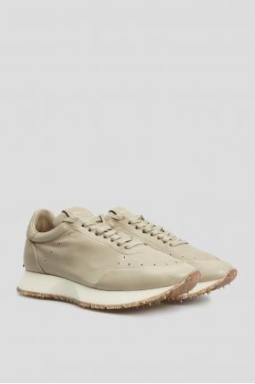Чоловічі оливкові шкіряні кросівки 1