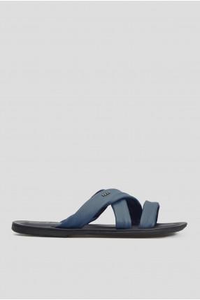 Мужские синие кожаные слайдеры