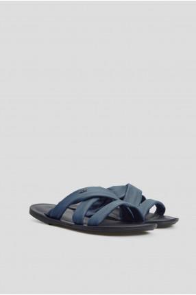 Мужские синие кожаные слайдеры 1