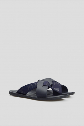Мужские темно-синие кожаные слайдеры 1