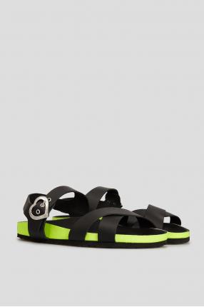 Женские черные кожаные сандалии 1