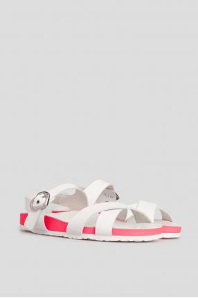 Женские белые кожаные сандалии 1