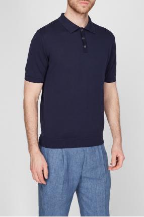 Мужское темно-синее шелковое поло 1