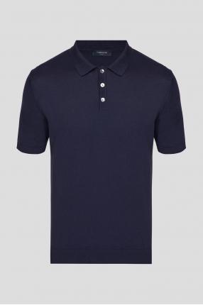 Мужское темно-синее шелковое поло