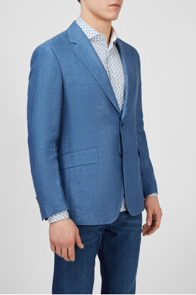Чоловічий блакитний лляний піджак 1