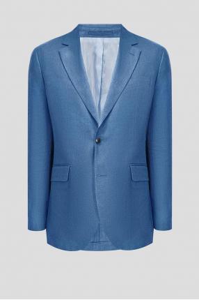 Чоловічий блакитний лляний піджак