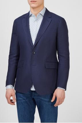 Чоловічий темно-синій лляний піджак 1
