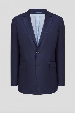 Чоловічий темно-синій лляний піджак