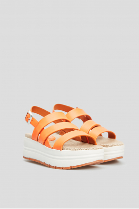 Женские оранжевые кожаные босоножки 1