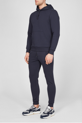 Чоловічий темно-синій спортивний костюм (худі, штани) 1