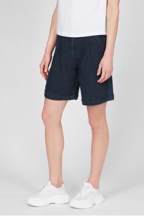 Женские синие льняные шорты 1