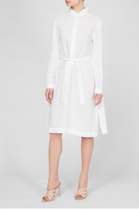 Женское белое льняное платье 1