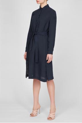 Женское темно-синее льняное платье 1