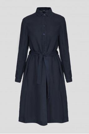 Женское темно-синее льняное платье