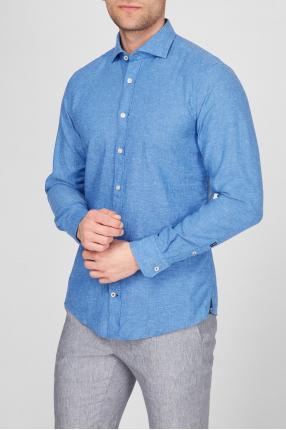 Чоловіча світло-синя лляна сорочка 1