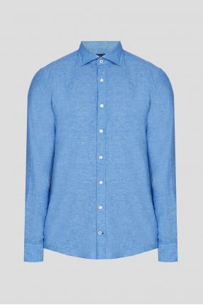 Чоловіча світло-синя лляна сорочка