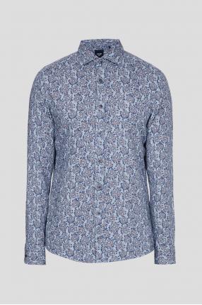 Чоловіча синя лляна сорочка