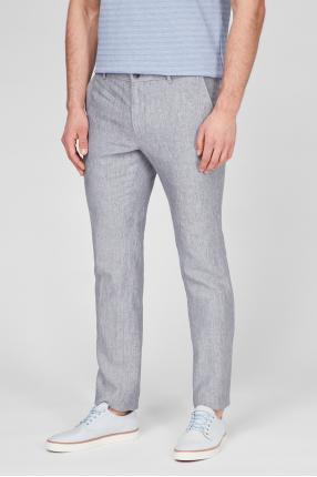 Мужские серые льняные брюки 1