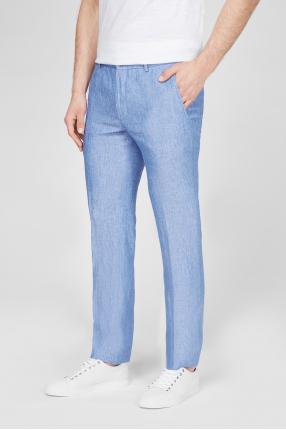 Мужские голубые льняные брюки 1