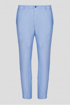 Мужские голубые льняные брюки