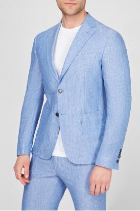Чоловічий блакитний лляний блейзер 1