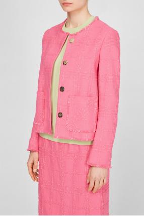 Жіночий рожевий твідовий блейзер 1