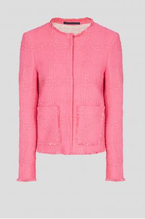 Жіночий рожевий твідовий блейзер