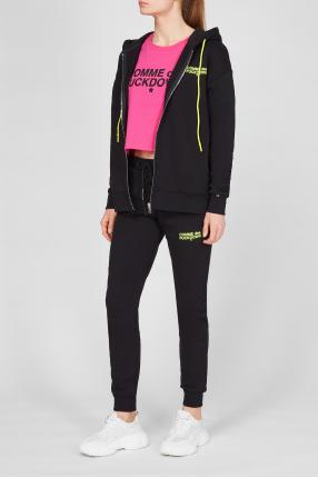 Жіночий чорний спортивний костюм (худі, штани) 1