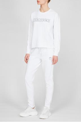 Жіночий білий спортивний костюм (світшот, штани) 1