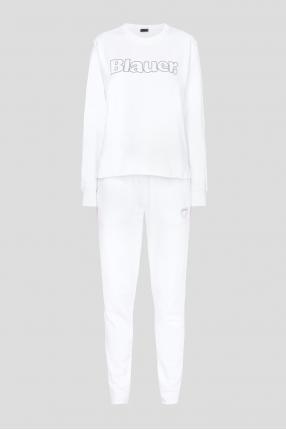 Женский белый спортивный костюм (свитшот, брюки)