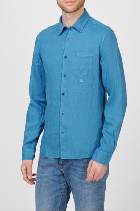 Чоловіча синя лляна сорочка 1