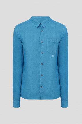 Мужская синяя льняная рубашка