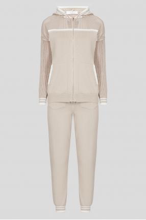 Женский бежевый спортивный костюм (худи, брюки)