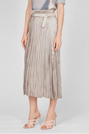 Женская золотистая плиссированная юбка 1