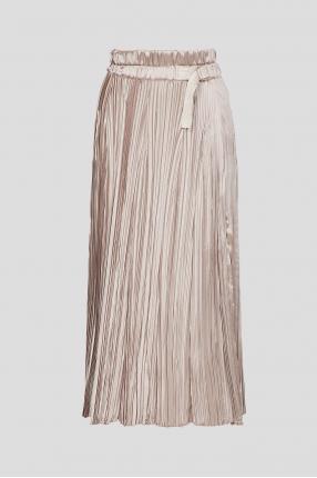 Женская золотистая плиссированная юбка