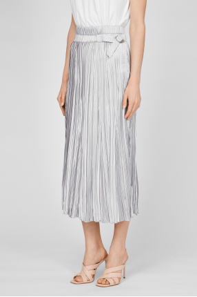 Женская серебристая плиссированная юбка 1