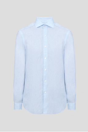 Чоловіча блакитна лляна сорочка