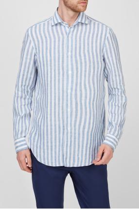 Чоловіча лляна сорочка у смужку 1