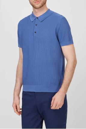 Мужское синее шелковое поло 1