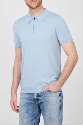 Мужское голубое шелковое поло 1
