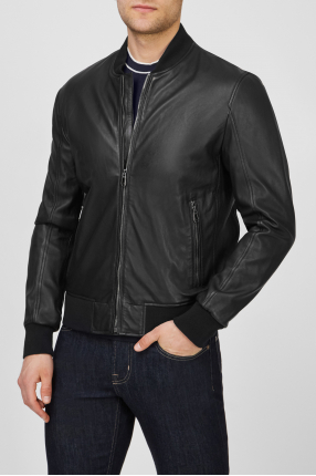 Чоловіча чорна шкіряна куртка 1