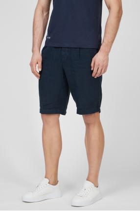 Мужские темно-синие льняные шорты 1