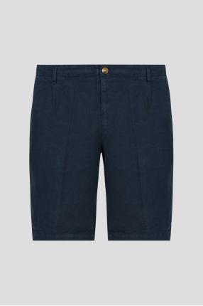 Мужские темно-синие льняные шорты
