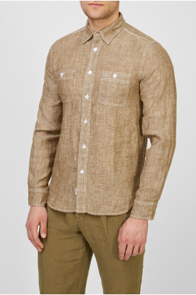 Мужская бежевая льняная рубашка 1