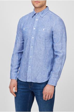 Мужская голубая льняная рубашка 1